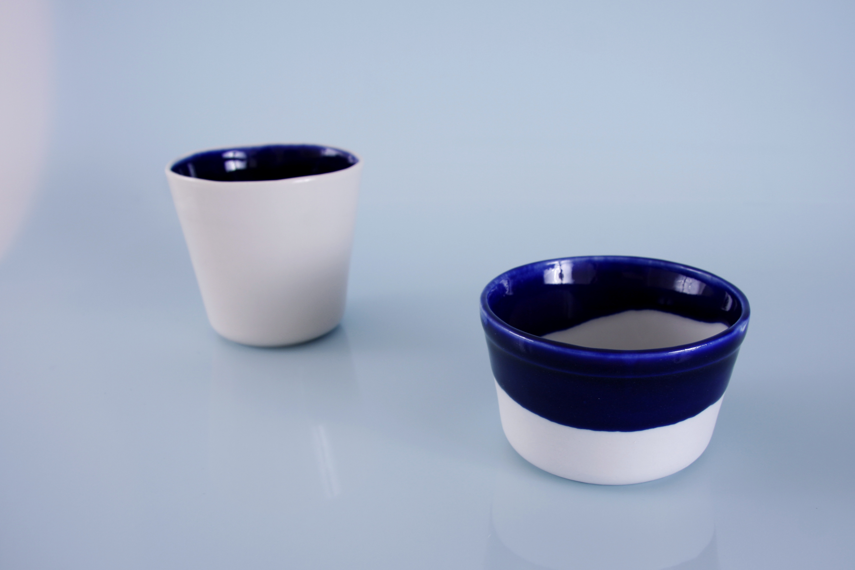 with dark blue glaze